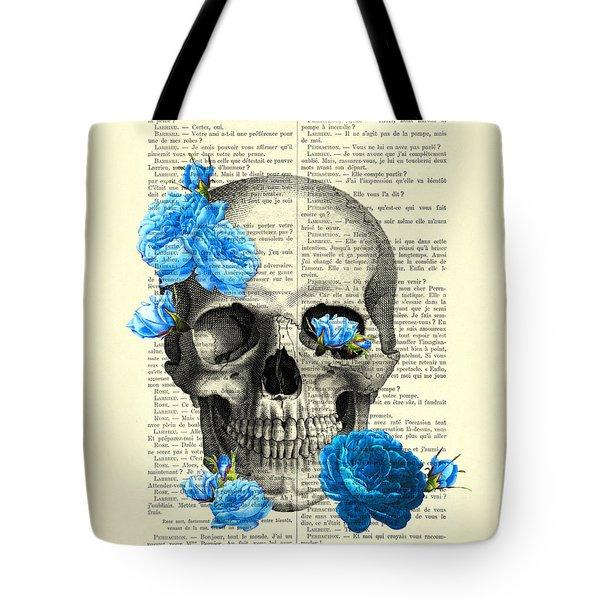 Blue Roses With Skull Art Print Tote Bag
