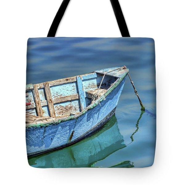 Blue Rowboat At Port San Luis 2 Tote Bag