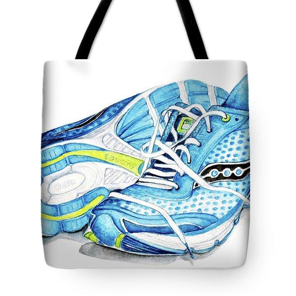 Blue Running Shoes Tote Bag by Heidi Kriel