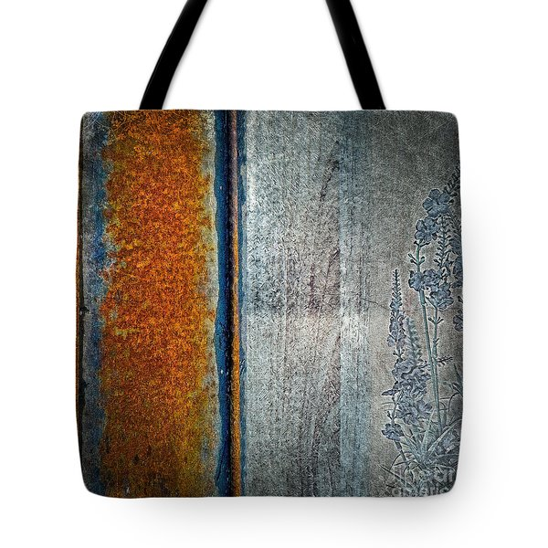 Tote Bag featuring the mixed media Blue Rust by Lita Kelley