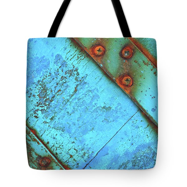 Blue Rusty Boat Detail Tote Bag by Lyn Randle