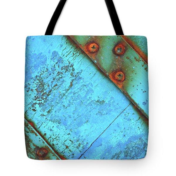 Blue Rusty Boat Detail Tote Bag