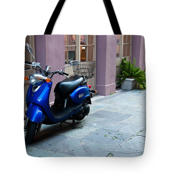 Tote Bag featuring the photograph Blue Scooter by Monte Stevens