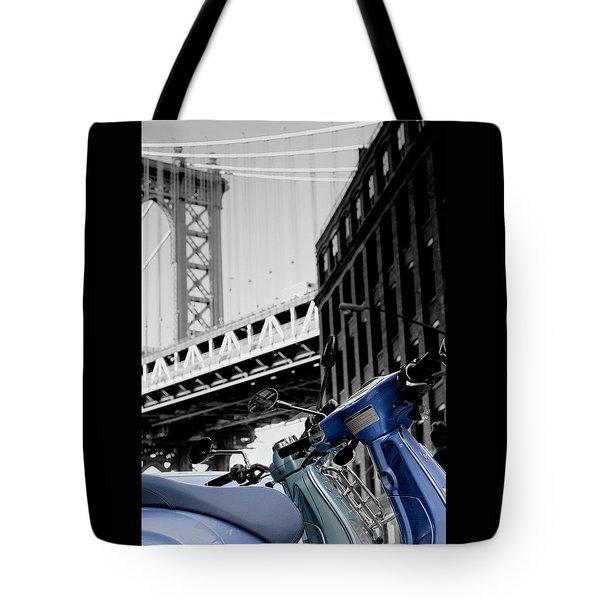 Blue Scooter Tote Bag by Silvia Bruno