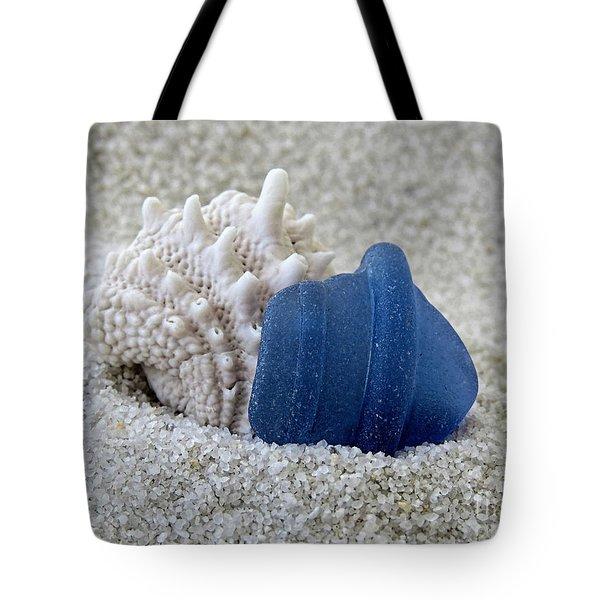 Blue Sea Glass And Seashell  Tote Bag