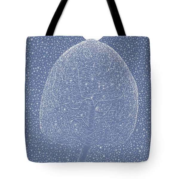 Blue Shadow Tree Tote Bag by Charles Cater