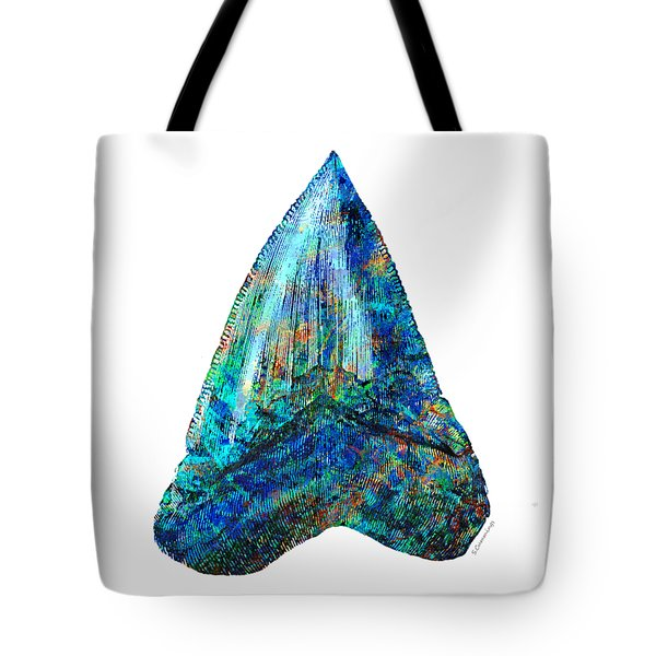 Blue Shark Tooth Art By Sharon Cummings Tote Bag by Sharon Cummings