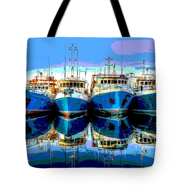 Blue Shrimp Boats Tote Bag