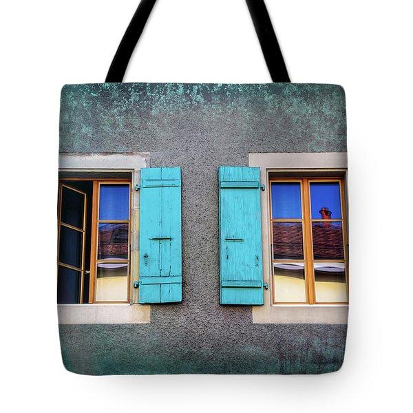 Blue Shuttered Windows In Carouge Geneva  Tote Bag
