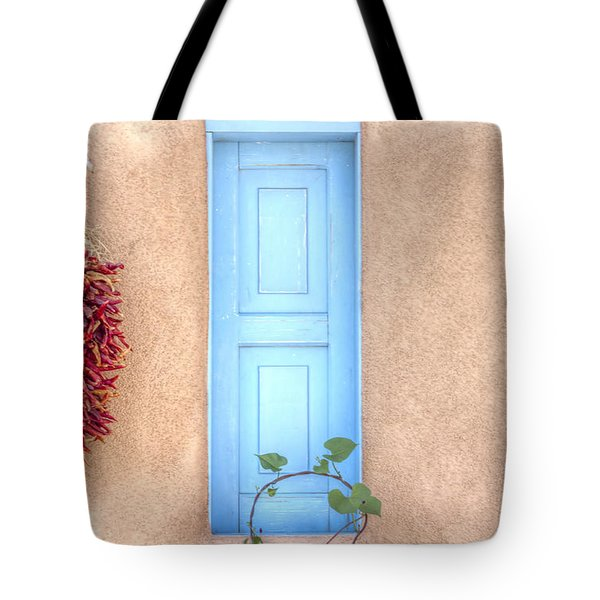 Blue Shutters And Chili Peppers Tote Bag