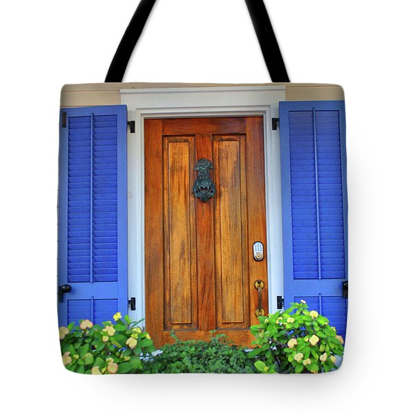 Tote Bag featuring the photograph Blue Shutters by Jost Houk