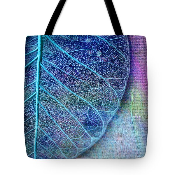 Blue Skeletal Leaf Tote Bag