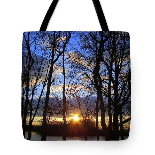 Blue Skies And Golden Sun Tote Bag by J R Seymour