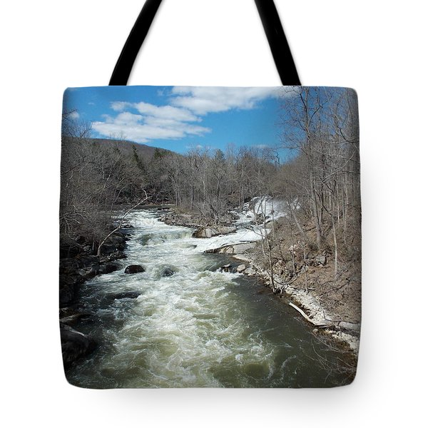 Blue Skies Over The Housatonic River Tote Bag by Catherine Gagne