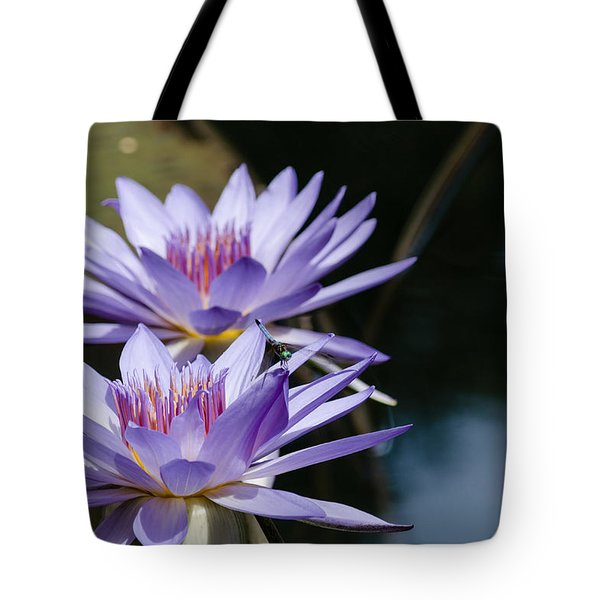 Blue Skimmer On Water Lilies Tote Bag