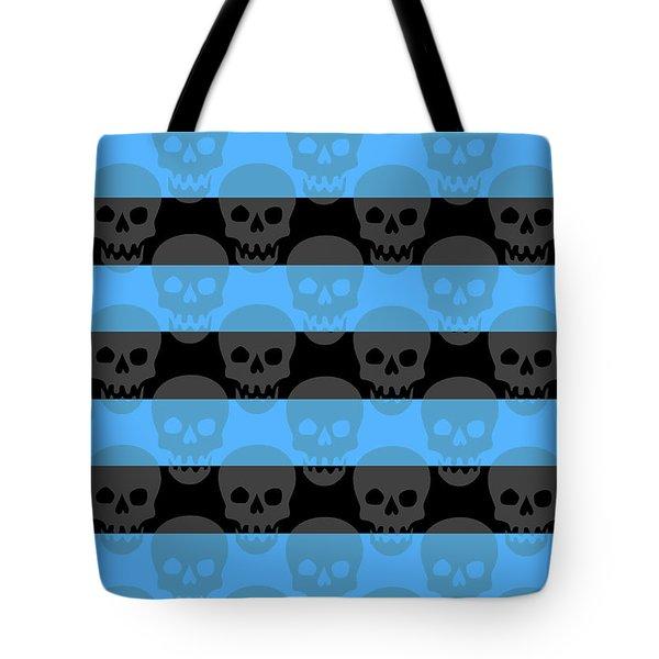 Blue Skull Stripes Tote Bag