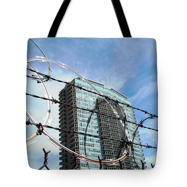 Blue Sky And Barbed Wire Tote Bag