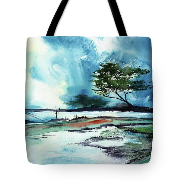 Tote Bag featuring the painting Blue Sky by Anil Nene