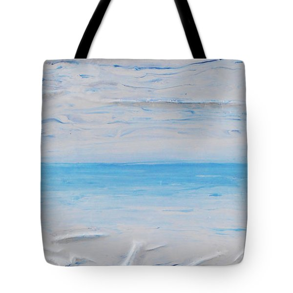 Tote Bag featuring the mixed media Blue Sky Blue Sea 1 by Angela Stout