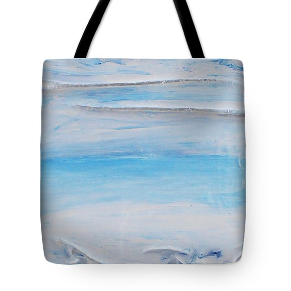 Tote Bag featuring the mixed media Blue Sky Blue Sea 2 by Angela Stout