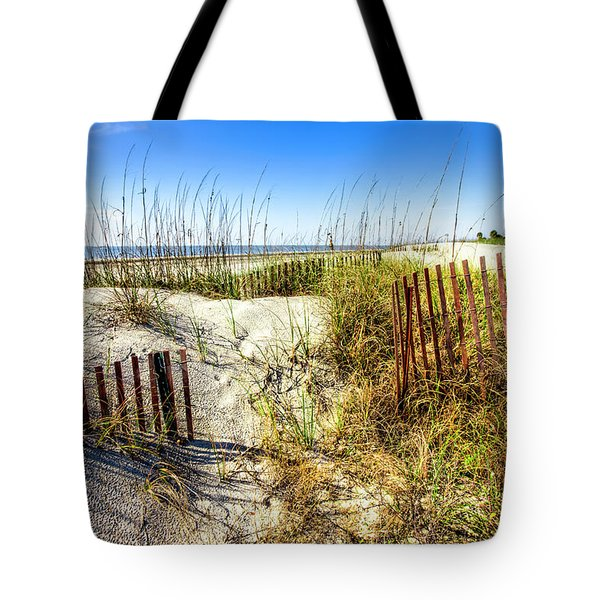 Tote Bag featuring the photograph Blue Sky Dunes by Debra and Dave Vanderlaan