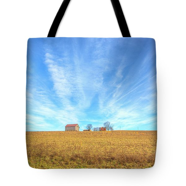 Tote Bag featuring the digital art Blue Skys And Yellow Fields by Randy Steele