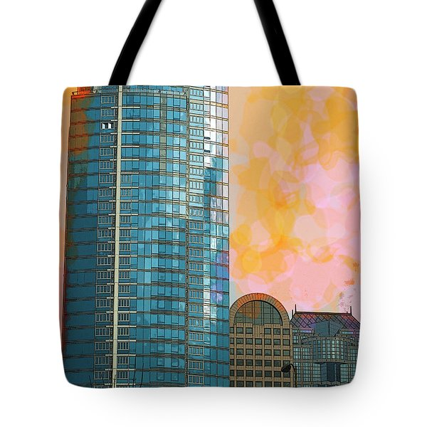 Tote Bag featuring the photograph Blue Skyscraper Seattle by Yulia Kazansky