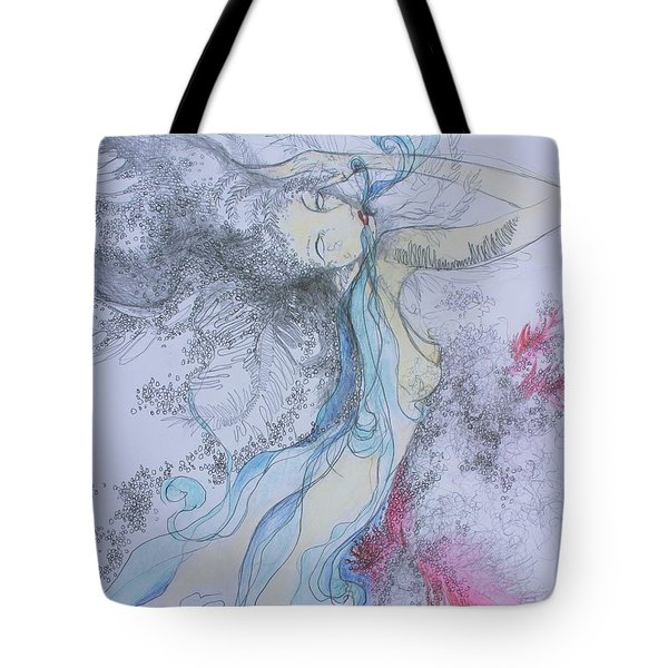 Blue Smoke And Mirrors Tote Bag by Marat Essex
