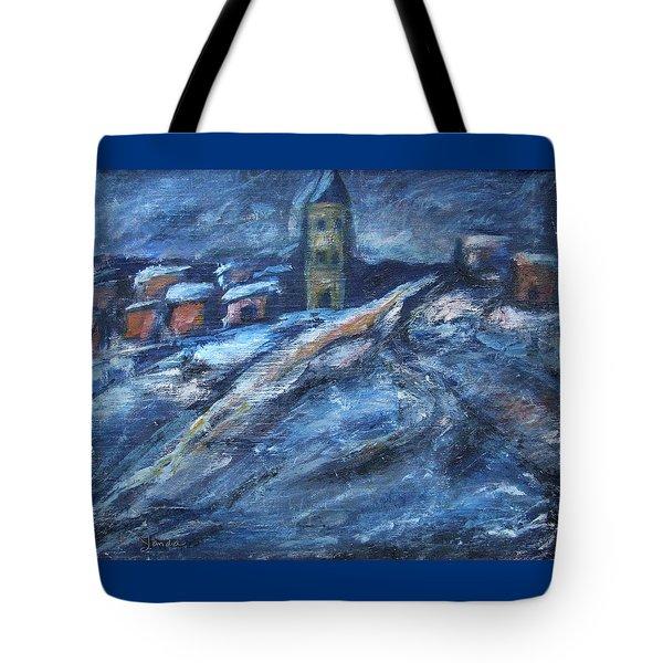 Blue Snow City Tote Bag