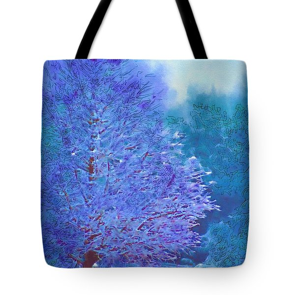 Blue Snow Scene Tote Bag by Donna Bentley