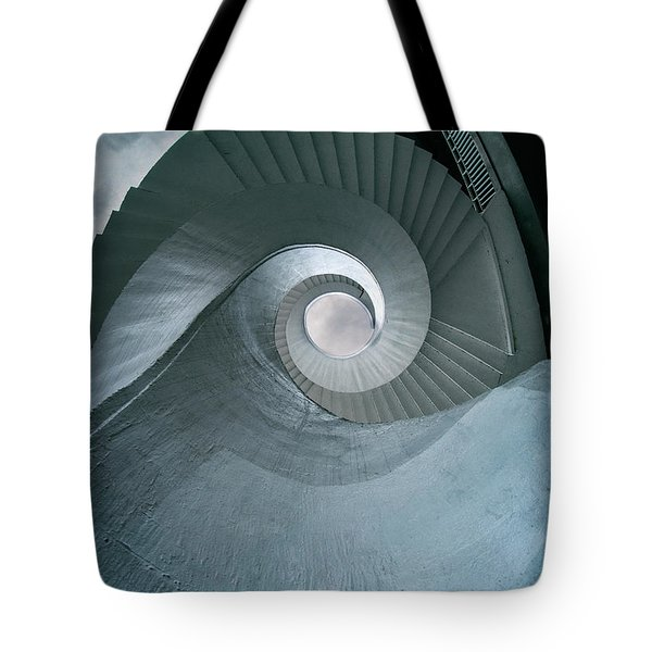 Tote Bag featuring the photograph Blue Spiral Stairs by Jaroslaw Blaminsky