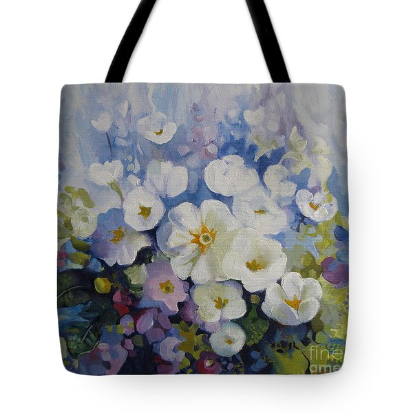 Tote Bag featuring the painting Blue Spring by Elena Oleniuc