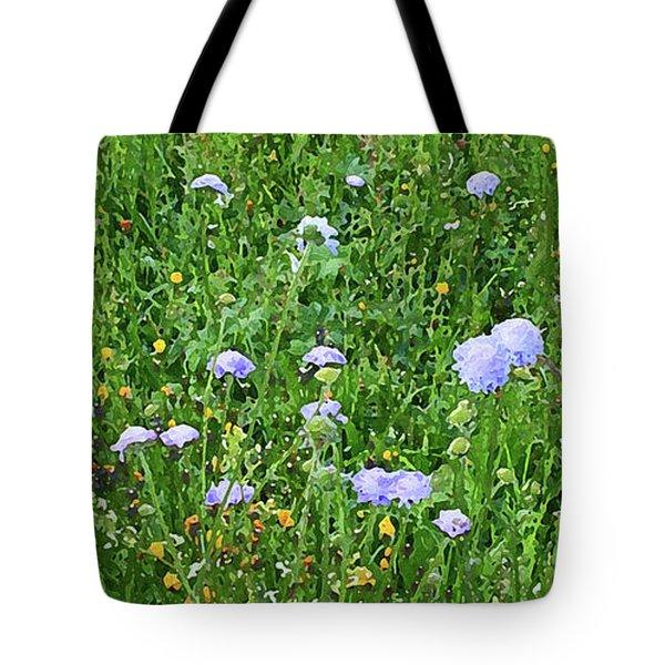 Blue Spring Flowers In Field Tote Bag