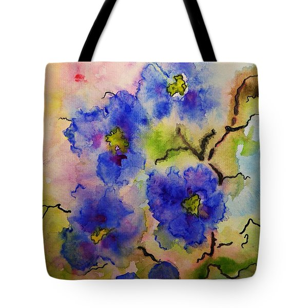 Blue Spring Flowers Watercolor Tote Bag by AmaS Art
