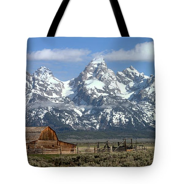 Blue Spring Skies Over Mormon Row Tote Bag by Adam Jewell