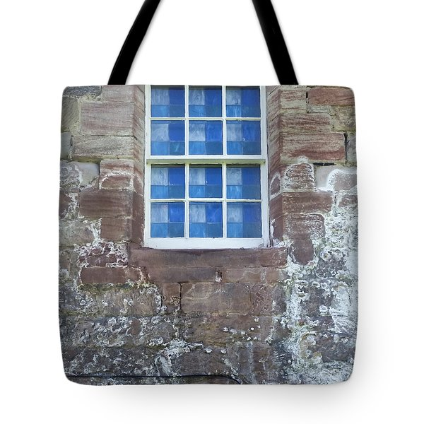 Tote Bag featuring the photograph Blue Squares In The Castle Window by Christi Kraft