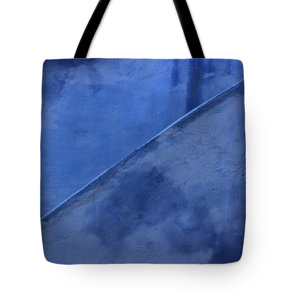 Tote Bag featuring the photograph Blue Stairs In Profile by Ramona Johnston