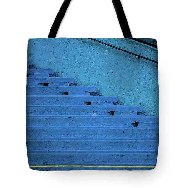 Blue Stairs Yellow Line San Francisco Tote Bag