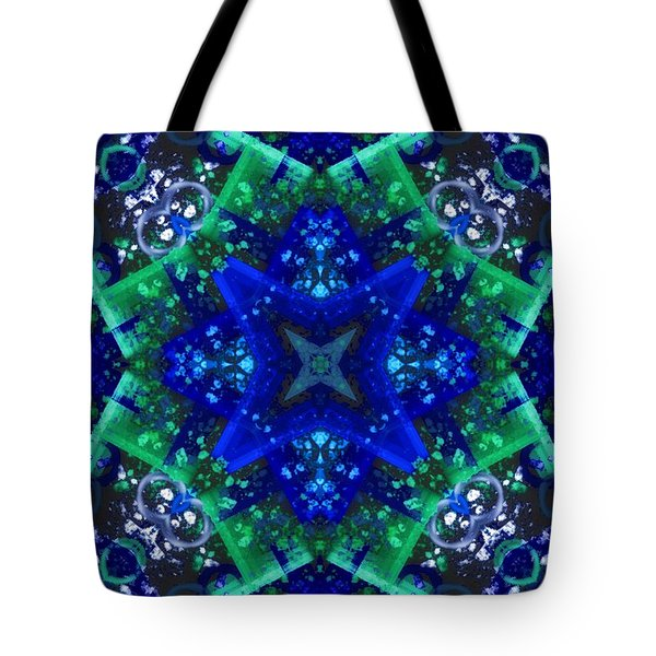 Blue Star Mandala Tote Bag