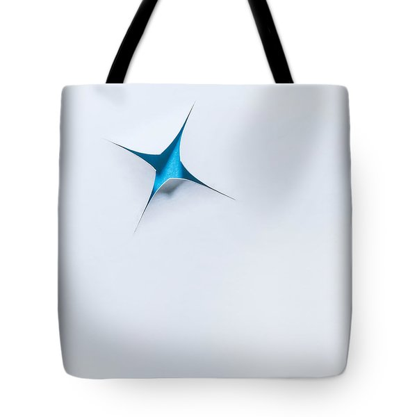 Blue Star On White Tote Bag