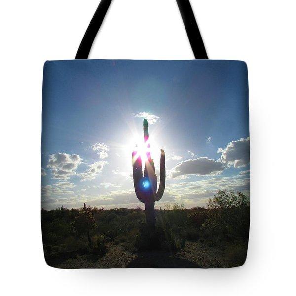 Blue Star Saguaro Tote Bag