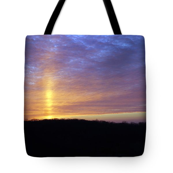 Tote Bag featuring the digital art Blue Sunset by Jana Russon