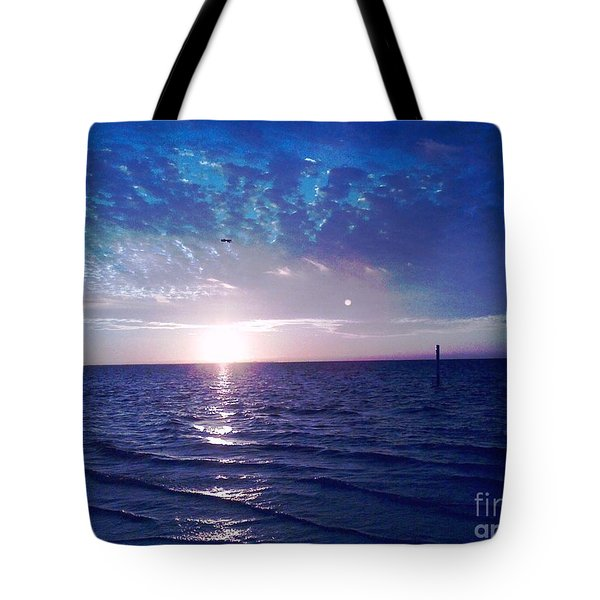 Tote Bag featuring the photograph Blue Sunset by Vicky Tarcau