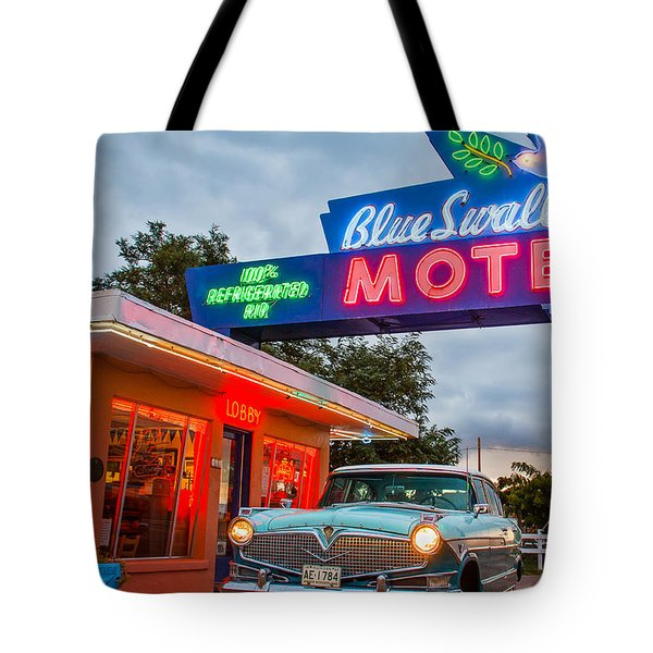 Blue Swallow Motel On Route 66 Tote Bag by Steven Bateson