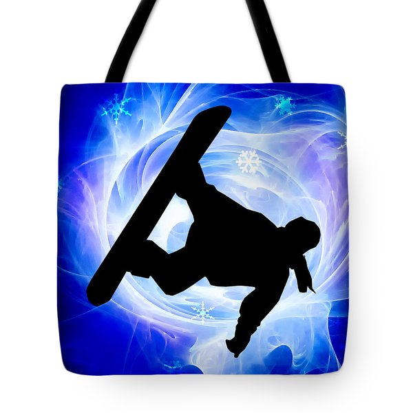 Blue Swirl Snowstorm Tote Bag by Elaine Plesser