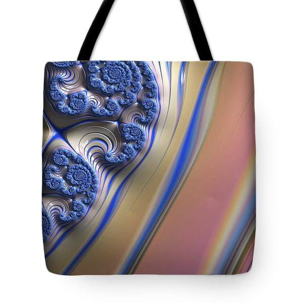 Tote Bag featuring the digital art Blue Swirly Fractal 2 by Bonnie Bruno