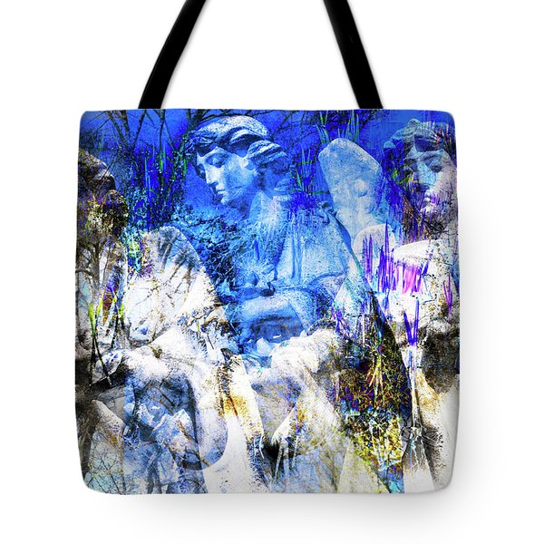 Tote Bag featuring the digital art Blue Symphony Of Angels by Silva Wischeropp