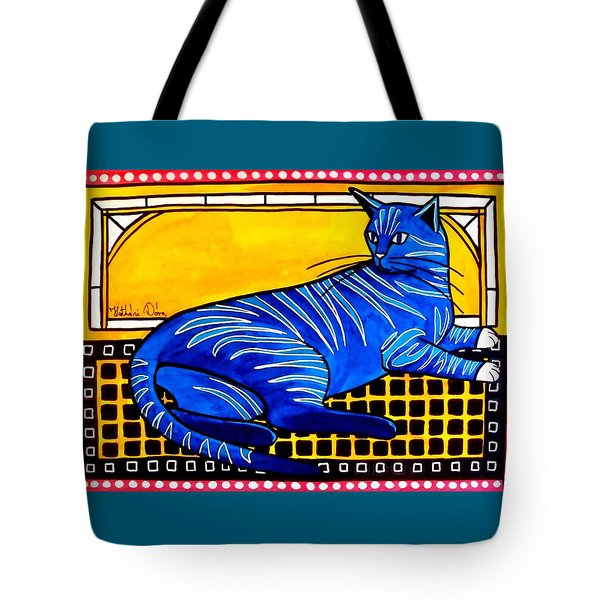 Blue Tabby - Cat Art By Dora Hathazi Mendes Tote Bag by Dora Hathazi Mendes
