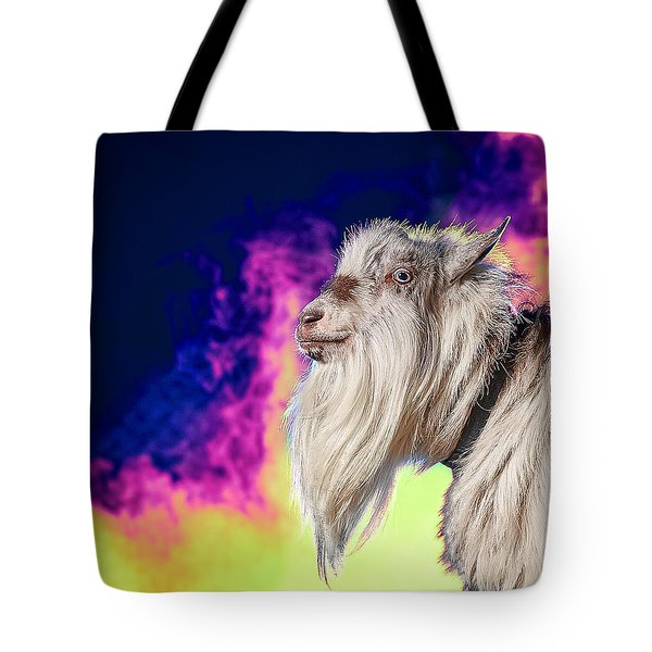 Blue The Goat In Fog Tote Bag
