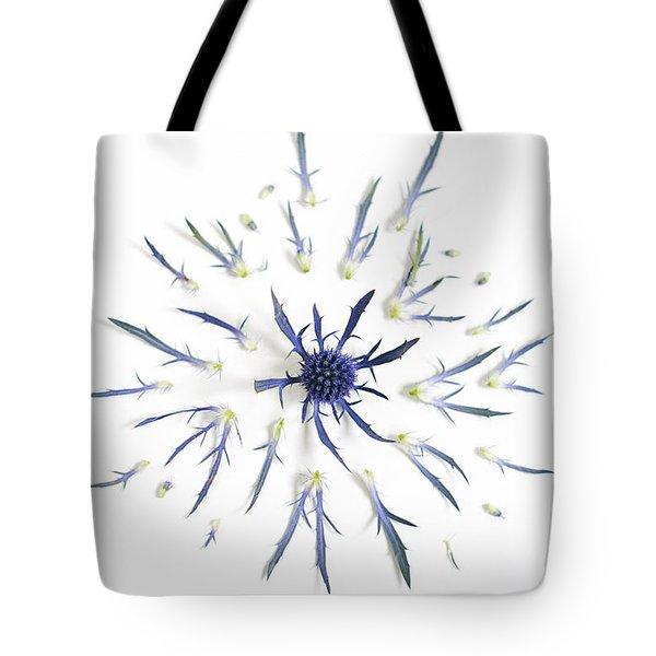 Blue Thistle Sunburst Tote Bag